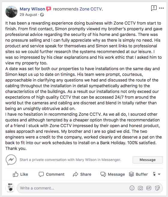 Zone CCTV Facebook Review