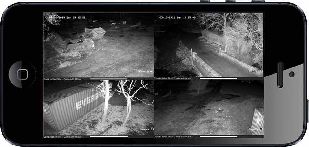 Smartphone Viewing - CCTV Security Towers - Night Time Footage